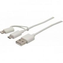 Cordon USB-A 2.0 vers lightning + micro USB-B 1m
