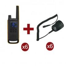 Pack de 6 Motorola Talkabout T82 Extreme + Micros haut-parleurs déportés