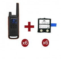 Pack de 6 Motorola Talkabout T82 + Batteries de rechange