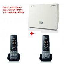 Pack 2 utilisateurs : Gigaset N510IP Pro + 2 combinés S650H