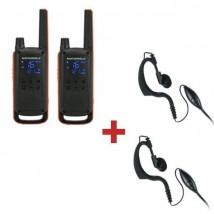 Pack de 2 Motorola Talkabout T82 + 2 contours d'oreille