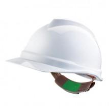 Casque de Chantier MSA V-Gard Non Ventilé Coiffe Push-Key - Blanc