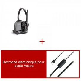 Pack casque Plantronics Savi 8220 Office Duo pour Aastra