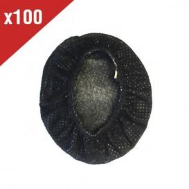 Lot de 100 charlottes hygiéniques noires pour casques