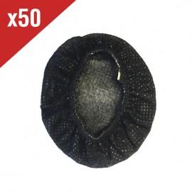 Lot de 50 charlottes hygiéniques noires pour casques