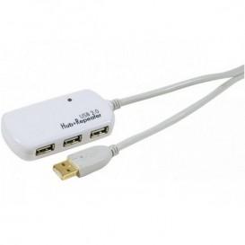 Câble rallonge amplifié USB 2.0 12m avec Hub 4 ports