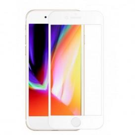 Verre trempé avec bord blanc pour iPhone 8