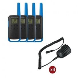 Pack de 4 Motorola T62 Bleu + Micros haut-parleurs déportés