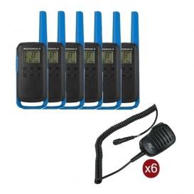 Pack de 6 Motorola T62 Bleu + Micros haut-parleurs déportés