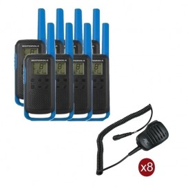 Pack de 8 Motorola T62 Bleu + Micros haut-parleurs déportés