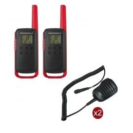 Pack de 2 Motorola T62 Rouge + Micros haut-parleurs déportés
