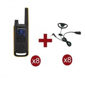 Pack de 8 Motorola Talkabout T82 Extreme + Kit Earloop