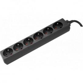 Multiprise noire sans interrupteur 6 prises 1,5m