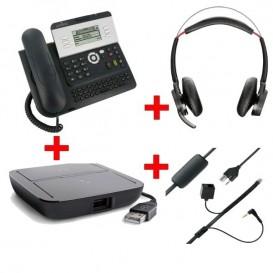 Alcatel 4028EE IP Touch Reconditionné + Plantronics Voyager Focus UC et accessoires