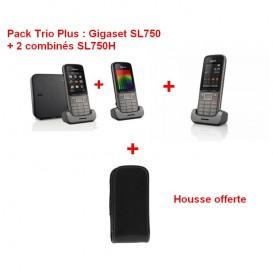 Pack Trio Plus : Gigaset SL750 + 2 combinés SL750H + housse offerte