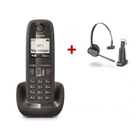 Téléphone DECT Gigaset AS470 + Casque Plantronics C565