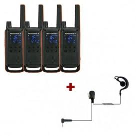 Pack de 4 Motorola Talkabout T82 + Contour d'oreilles