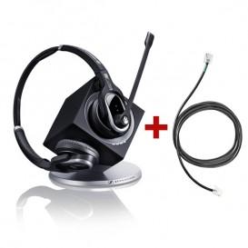 Pack sans fil pour Alcatel séries 8 - 9: casque DW Pro 2 + cordon décroché électronique à distance Sennheiser EHS