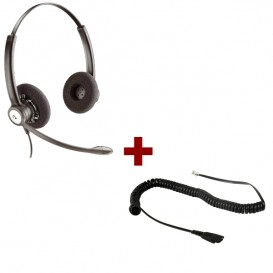Casque Plantronics Entera Duo + cordon QD etiro pour Plantronics