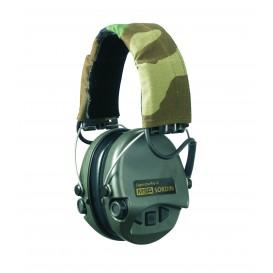 Casque anti-bruit MSA Supreme Pro-X vert avec serre-tête camouflage, coussinets gel & LED