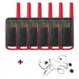 Pack de 6 Motorola T62 Rouge + Micro casque