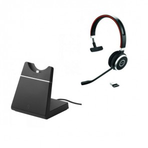 Casque PC Jabra Evolve 65 UC Mono + Socle de charge