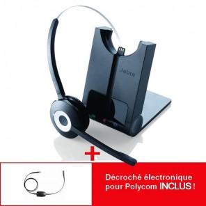 Pour poste Polycom : Jabra Pro 920 + cordon électronique décroché à distance