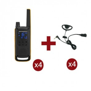 Pack de 4 Motorola Talkabout T82 Extreme + Kit Earloop