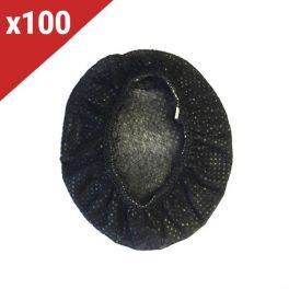 Lot de 100 paires de charlottes hygiéniques noires pour casques