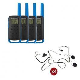 Pack de 4 Motorola T62 Bleu + Micro casque