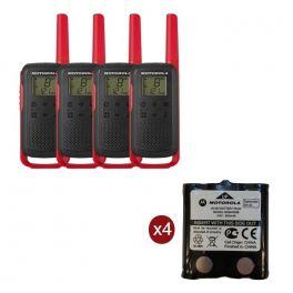 Pack de 4 Motorola T62 Rouge + Batteries de rechange