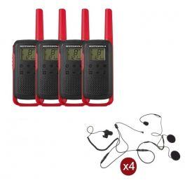 Pack de 4 Motorola T62 Rouge + Micro casque
