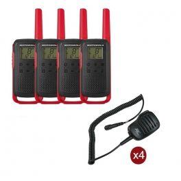 Pack de 4 Motorola T62 Rouge + Micros haut-parleurs déportés