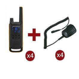 Pack de 4 Motorola Talkabout T82 Extreme + Micros haut-parleurs déportés