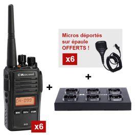 Le Pack Equipe : 6 Midland G18 + Socle de charge + 6 micros déportés Offerts !