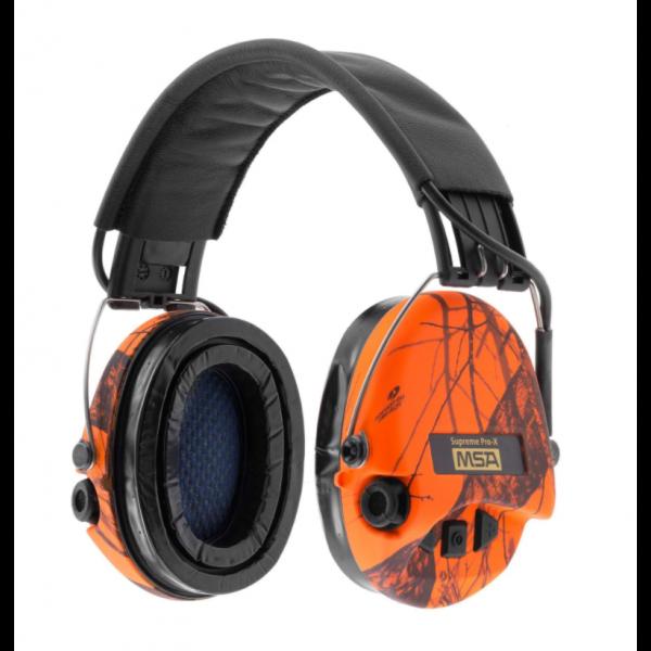 MSA Supreme Pro-X camouflage orange - serre-tête cuir, coussinets gel & LED