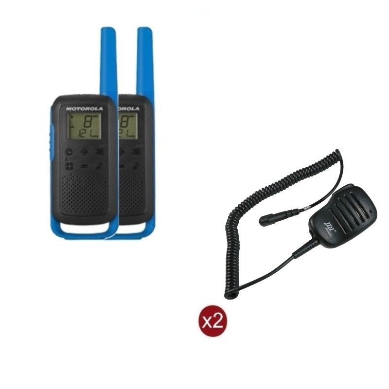 Pack de 2 Motorola T62 Bleu + Micros haut-parleurs déportés