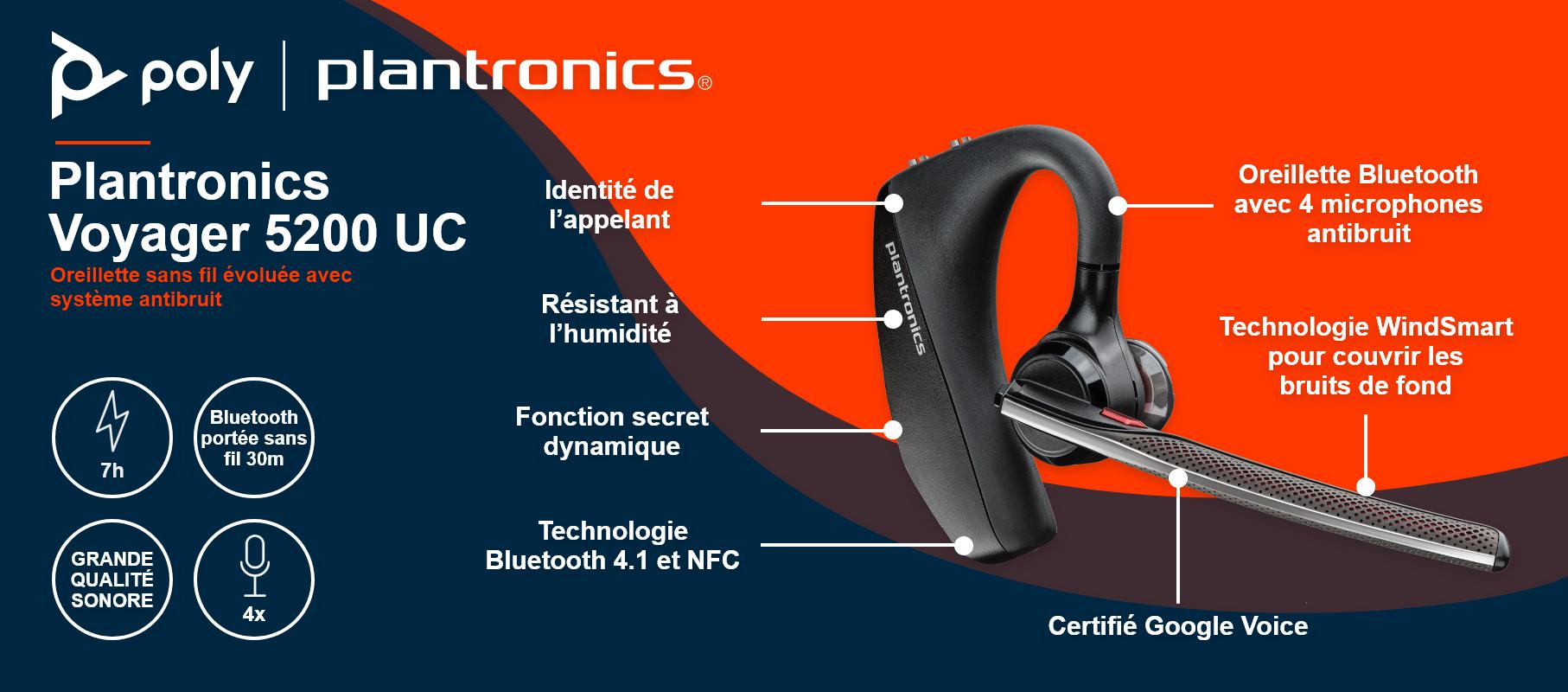 Oreillette Bluetooth Plantronics Voyager 5200 UC